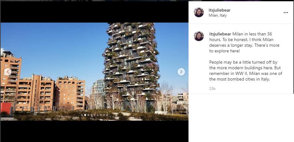 instagram post screenshot Milan
