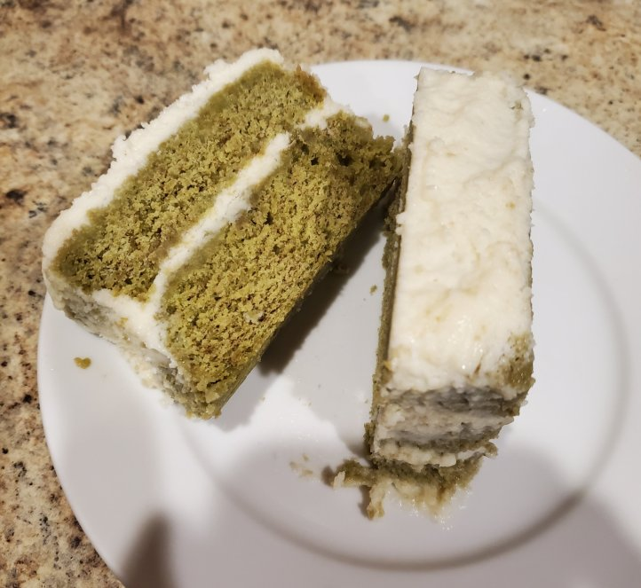 Matcha cake with white chocolate frosting green tea
