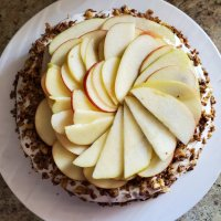 Apple cake with honey frosting and an oat walnut crumble